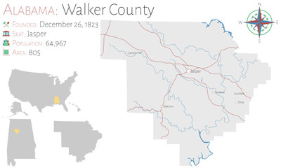 Large and detailed map of Walker county in Alabama, USA