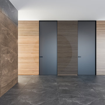 Closed modern door in a room with a stone floor and textured walls Style interior. Concept of an opportunity. 3d rendering illustration mockup