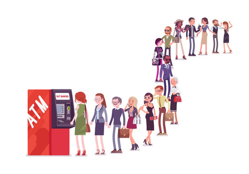Group of people queuing in a line near ATM. Members of different nations, sex, age, jobs standing together waiting for bank service. Vector flat style cartoon illustration isolated on white background