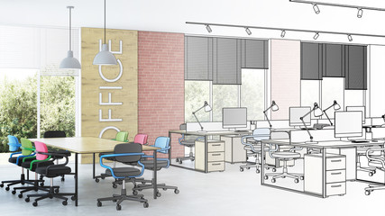Modern office interior. Design project. Sketch. 3D rendering.