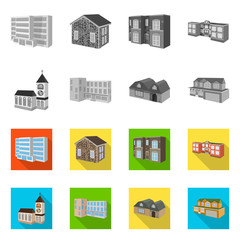 Isolated object of facade and housing logo. Set of facade and infrastructure stock symbol for web.