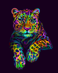 Abstract, graphic, colorful in neon colors artistic portrait of a leopard on a dark purple background.