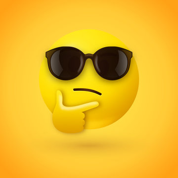 Thinking face emoji with sunglasses - emoticon face shown with a single finger and thumb resting on the chin wearing hipster sunglasses on yellow background