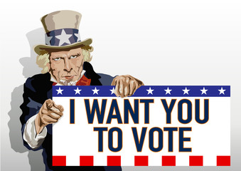 Concept du leadership, symbolisé par l'Oncle Sam qui présente une pancarte avec un message insitant les américains à voter.
