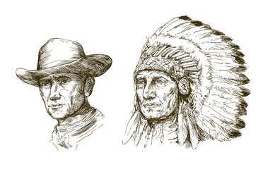 Portrait of american indian chief and cowboy.