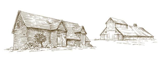 Vintage barn, hand drawn set.