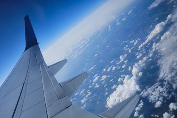 Aerial view of the Earth landscape. Space edge Earth view from airplane porthole with littered horizon