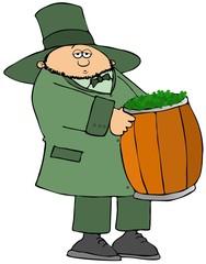 Irish leprechaun carrying a barrel full of clovers