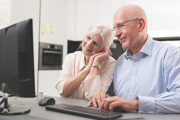 Happy elder couple enjoy together at computer