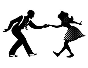 Swing dance negative couple silhouette. Black and white colors. 1940s and 1930s style. Woman in dress with dots and man with tie. Flat vector illustration.