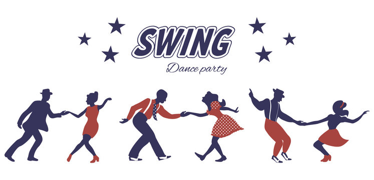 Three swing dance couples silhouettes in red and blue colors with inscription and stars on white background. 1940s style. Flat vector illustration.