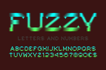 Fuzzy letters and numbers with currency signs. Green blue gradient font. Isolated english alphabet. Wall mural