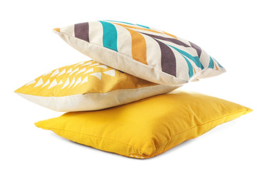 Soft color pillows on white background