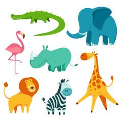 Cartoon ñute and funny african animals set. Crocodile, elephant, rhinoceros, lion, zebra, flamingo and giraffe. Flat vector illustration.