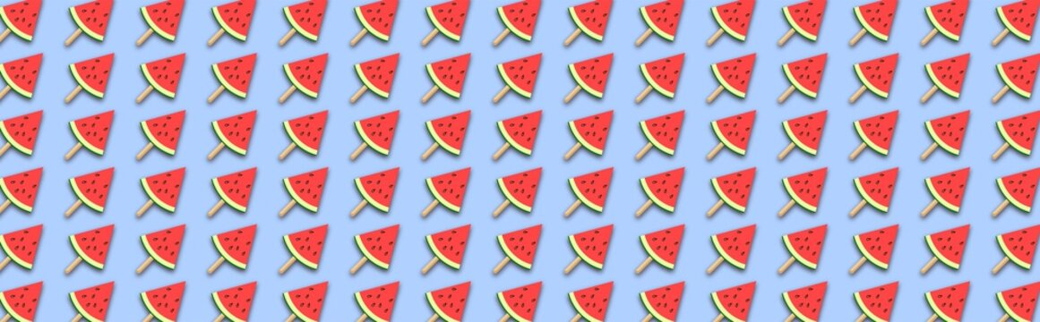 Watermelon popsicles. Watermelon slices on blue background. Vector illustration