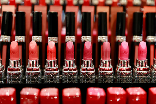 Dior lipsticks are displayed at a shopping center in Bangkok
