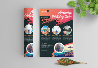 Bold and Colorful Flyer Layout with Paint Splatter Accents