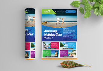 Multicolored Flyer Layout with Photo Header