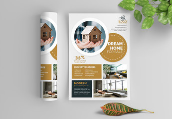 Business Flyer Layout with Circular Elements and Brown Accents