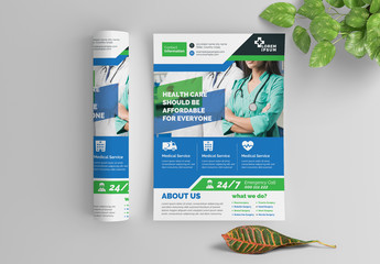 Blue and Green Health Care Flyer Layout with Graphic Icons