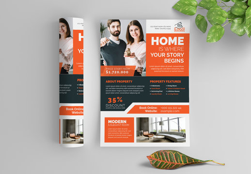 Business Flyer Layout with Orange Elements