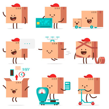 Cute delivery box characters vector cartoon set isolated on a white background.