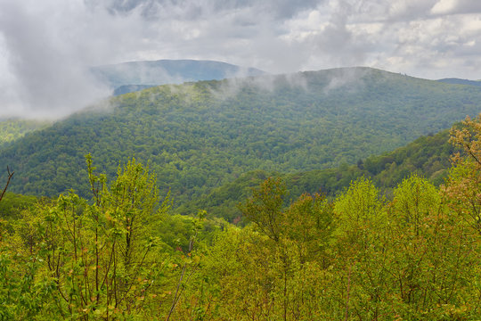View of low clouds and mountains from the Blue Ridge Parkway near Montebello, Virginia