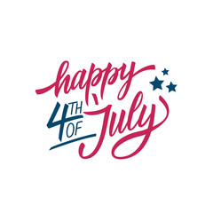 4th of July, United States Happy Independence Day calligraphic lettering design celebrate card template. Creative typography for USA national holiday greetings and invitations. Vector illustration.