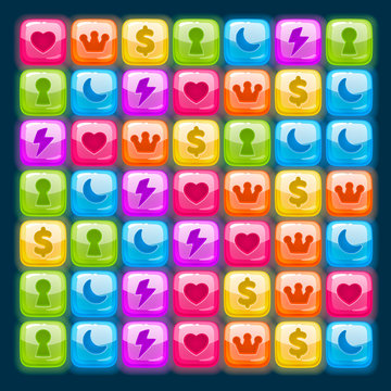 Game match icon. Character set in different colors.