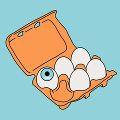 Egg carton with an eye