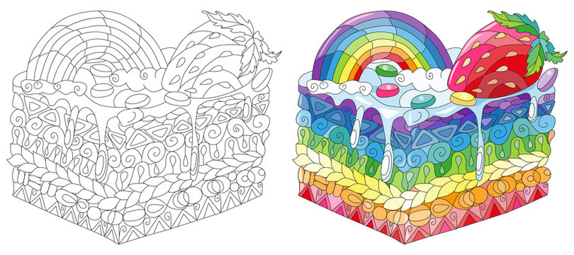 Vector piece of cake with with rainbow and strawberry