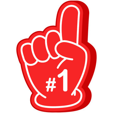 Football fan finger foam Number 1 hand vector cartoon illustration icon isolated on white background.