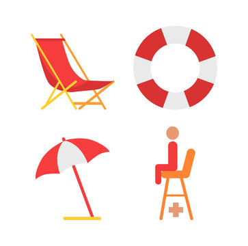 Equipment for beach vector icon in cartoon style. Sunbed and open umbrella, lifebuoy and lifesaver seat, isolated simple emblem, protection tools
