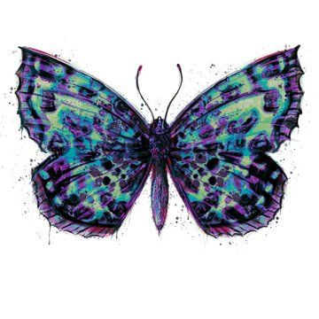 Hand painted watercolour moth / butterfly with paint splatter No. 10b