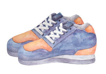 Watercolor sneakers isolated on white background