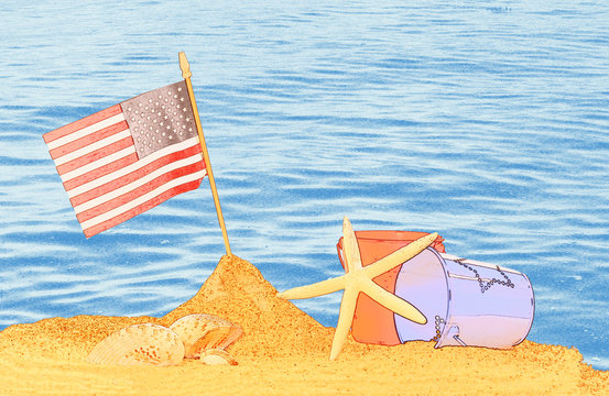 American flag stuck in the sand by the sea with copy space for your Memorial Day Independence Day sales circular, poster, banner, card, invitation, or family vacation travel  background