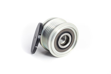 Freewheel alternator pulley on isolated white background with cap. Auto electrical parts.