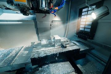 Working area of modern CNC milling machine