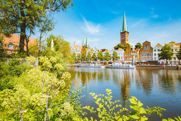 Historic city of Luebeck with Trave river in summer, Schleswig-Holstein, Germany Wall mural