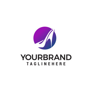 high heels circle logo design concept template vector