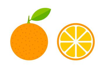 Orange fruit with leaf and slice icons.