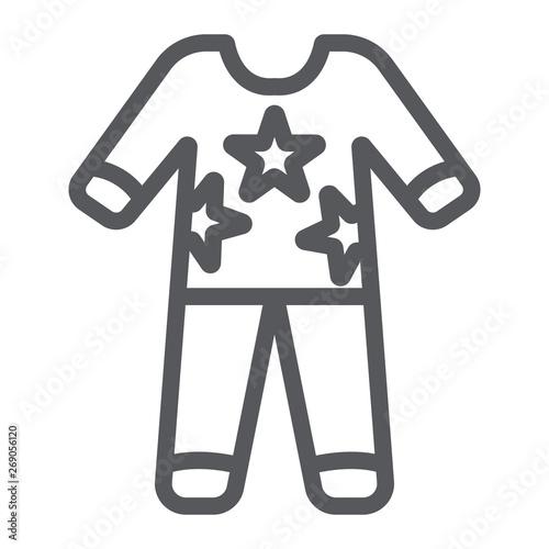 Pajamas line icon, clothes and nightwear, pyjama sign, vector