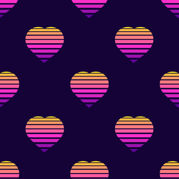 Seamless pattern with heart symbols on dark blue background. Futuristic digital vector wallpaper. Vaporwave, retrowave, cyberpunk aesthetics.