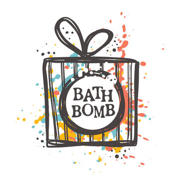 Bath bomb concept design. Hand drawn vector illustration. Can be used for organic shop, heathcare, spa, aromatherapy, handmade cosmetic, logo, sticker, label, gift, icon