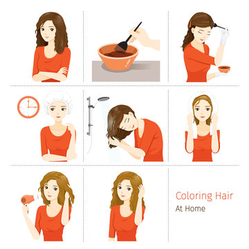 Hair Coloring Process. Steps Of Young Woman Coloring Her Own Hair From Brunette to Blonde At Home