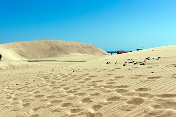 Gran Canaria - Sandy dunes in the famous natural ambiente of Maspalomas beach. Atlantic Ocean, Canary Islands, Spain