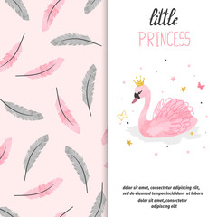 Birthday card design for little girl. Vector illustration of cute princess swan.