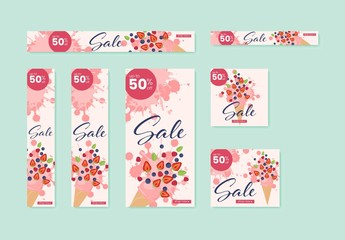 Web Banner Layout Set with Ice Cream and Fruit Illustrations