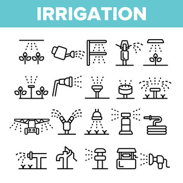 Sprinklers, Irrigation Technology Vector Linear Icons Set. Water Sprinklers Outline Symbols Pack. Garden, Field Watering Modern System. Lawn Automatic Sprayer Isolated Contour Illustrations