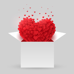Red heart in an open box. Valentine Day. The concept of love.